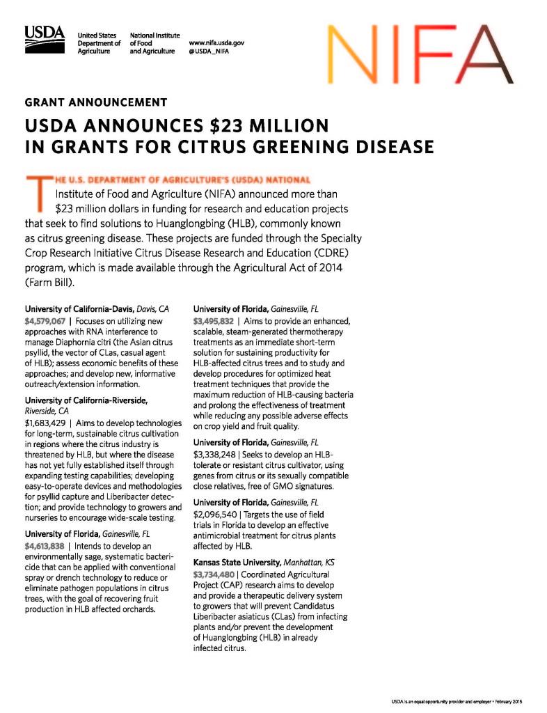 USDA NIFA Citrus Greening Awardees Fact Sheet