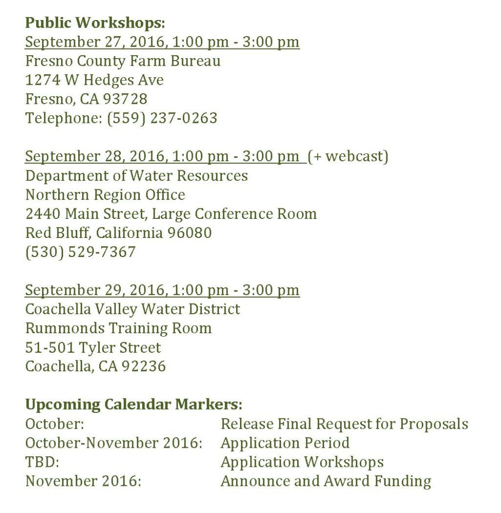 Agricultural Water Use Efficiency & State Water Efficiency and Enhancement Program – DWR/CDFA Joint RFP public-workshops