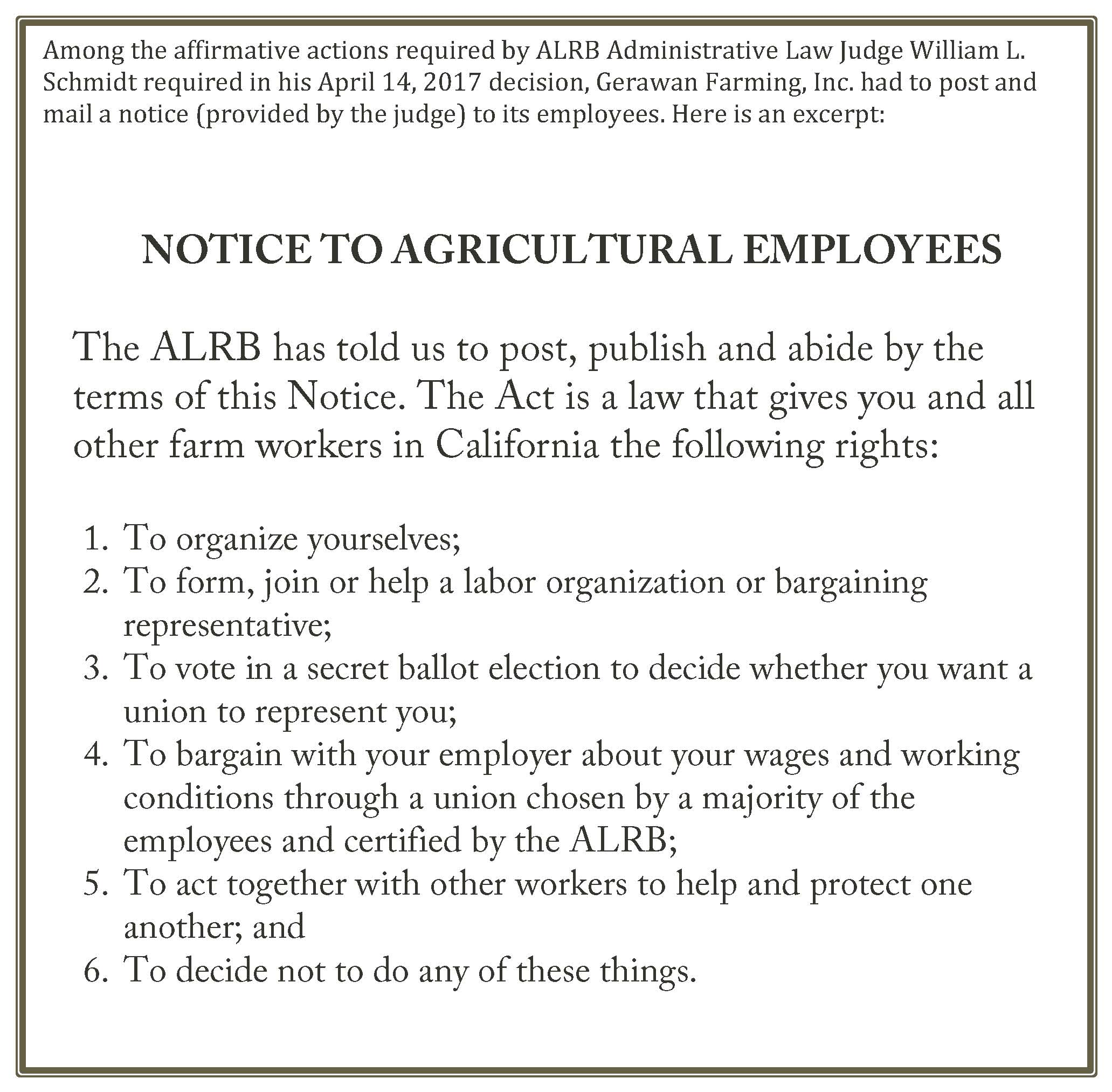 ALRB Notice to Gerawan Employees